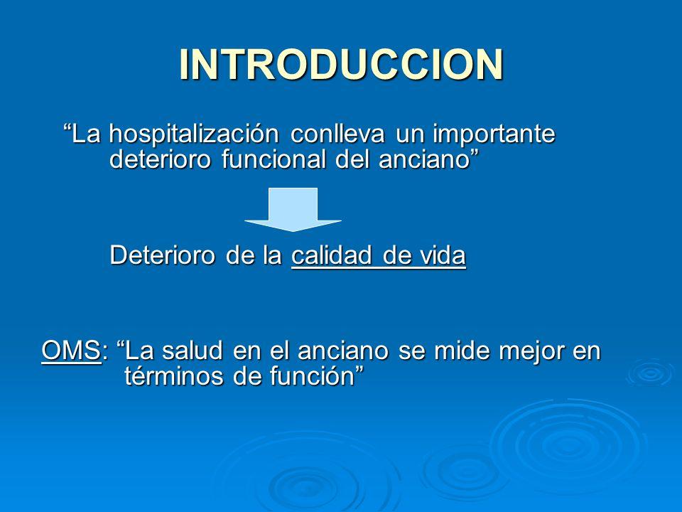 INTRODUCCION La hospitalización conlleva un importante deterioro funcional del anciano La hospitalización conlleva un importante deterioro funcional d
