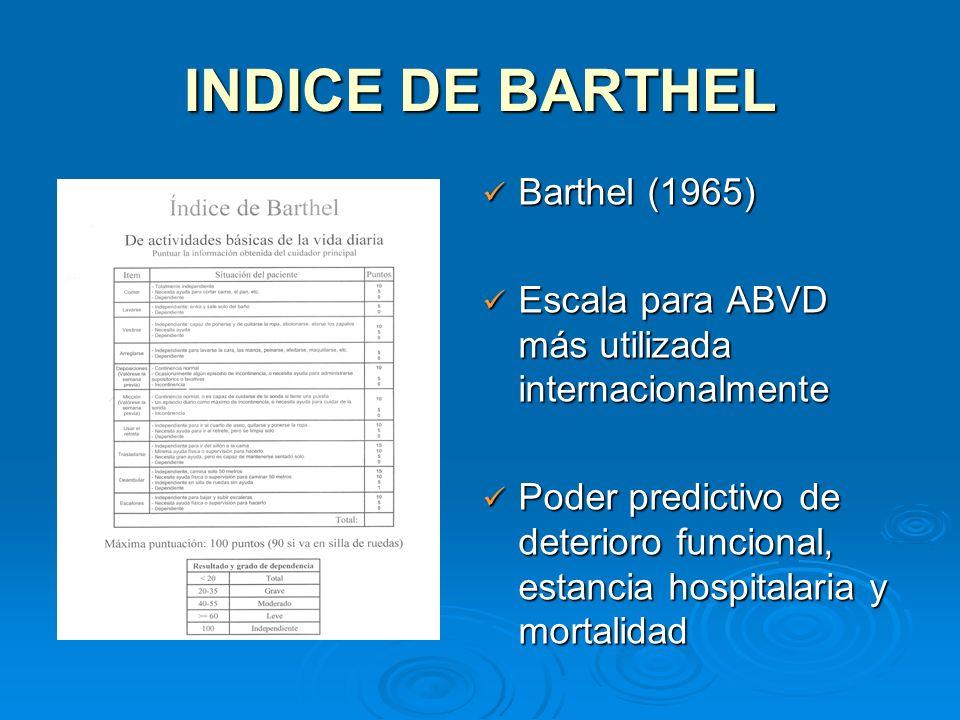 INDICE DE BARTHEL Barthel (1965) Barthel (1965) Escala para ABVD más utilizada internacionalmente Escala para ABVD más utilizada internacionalmente Po
