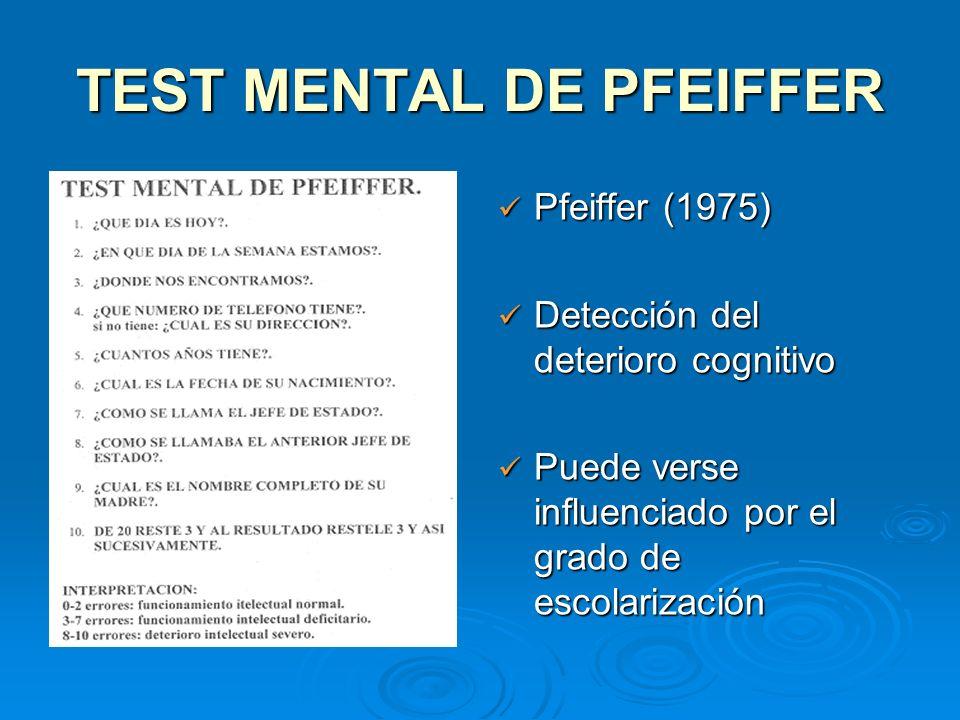 TEST MENTAL DE PFEIFFER Pfeiffer (1975) Pfeiffer (1975) Detección del deterioro cognitivo Detección del deterioro cognitivo Puede verse influenciado p