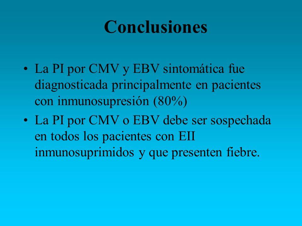 La PI por CMV y EBV sintomática fue diagnosticada principalmente en pacientes con inmunosupresión (80%) La PI por CMV o EBV debe ser sospechada en tod