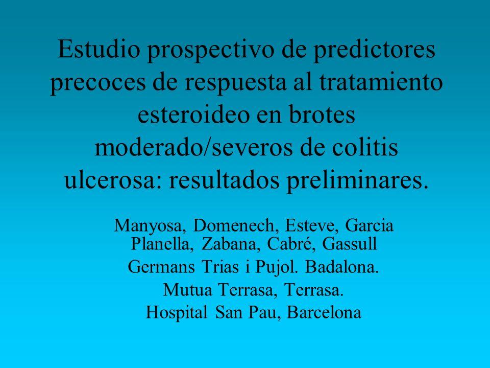 Estudio prospectivo de predictores precoces de respuesta al tratamiento esteroideo en brotes moderado/severos de colitis ulcerosa: resultados prelimin