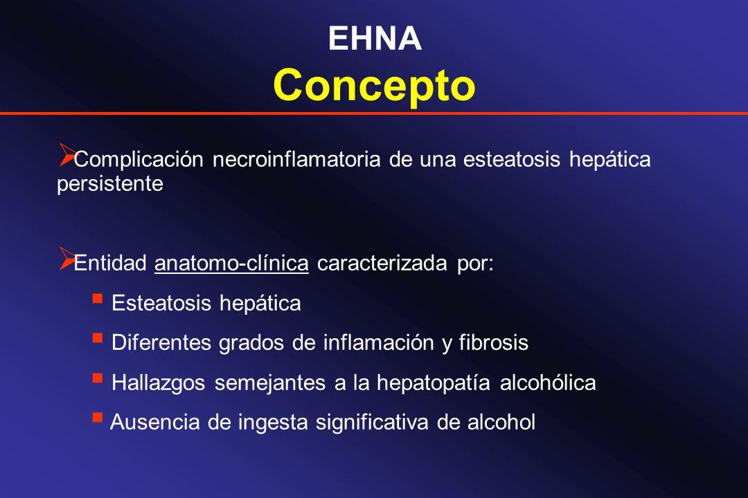 EHNA Concepto Complicación necroinflamatoria de una esteatosis hepática persistente Entidad anatomo-clínica caracterizada por: Esteatosis hepática Dif