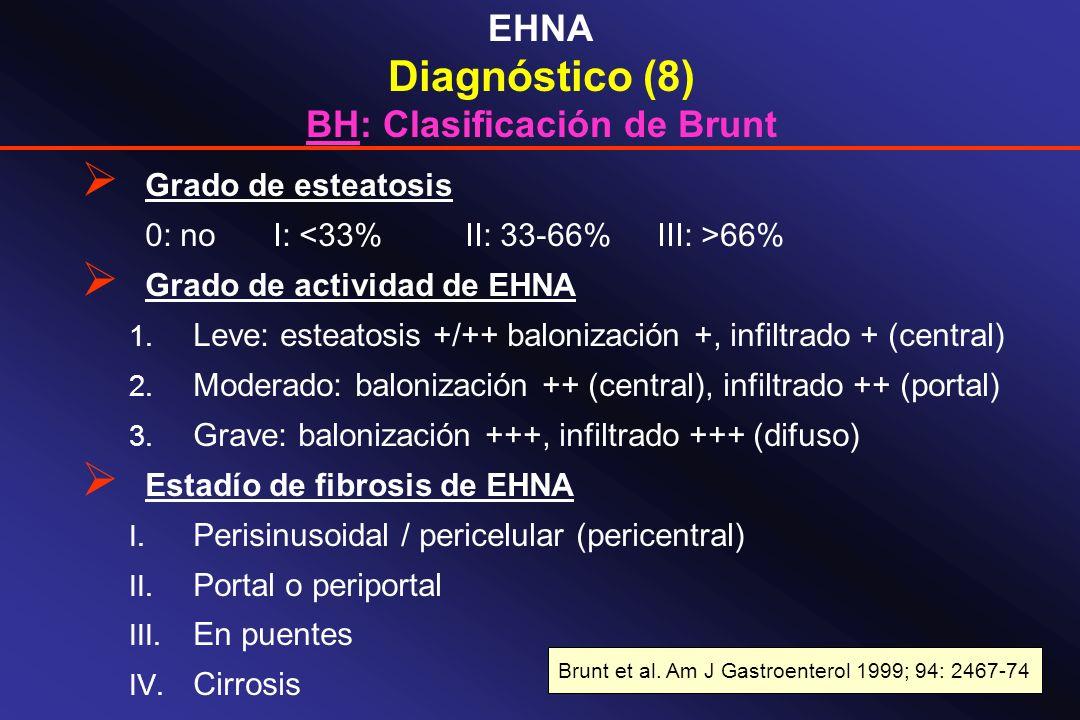 EHNA Diagnóstico (8) BH: Clasificación de Brunt Grado de esteatosis 0: noI: 66% Grado de actividad de EHNA 1. Leve: esteatosis +/++ balonización +, in
