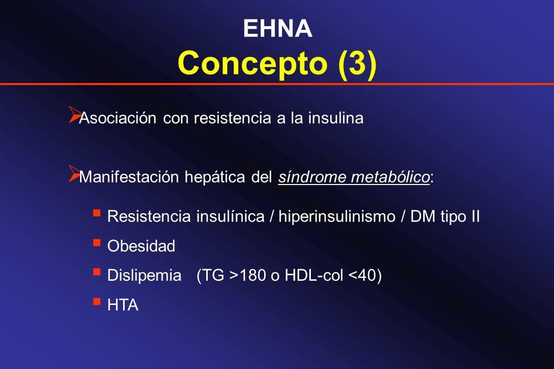 EHNA Concepto (3) Asociación con resistencia a la insulina Manifestación hepática del síndrome metabólico: Resistencia insulínica / hiperinsulinismo /