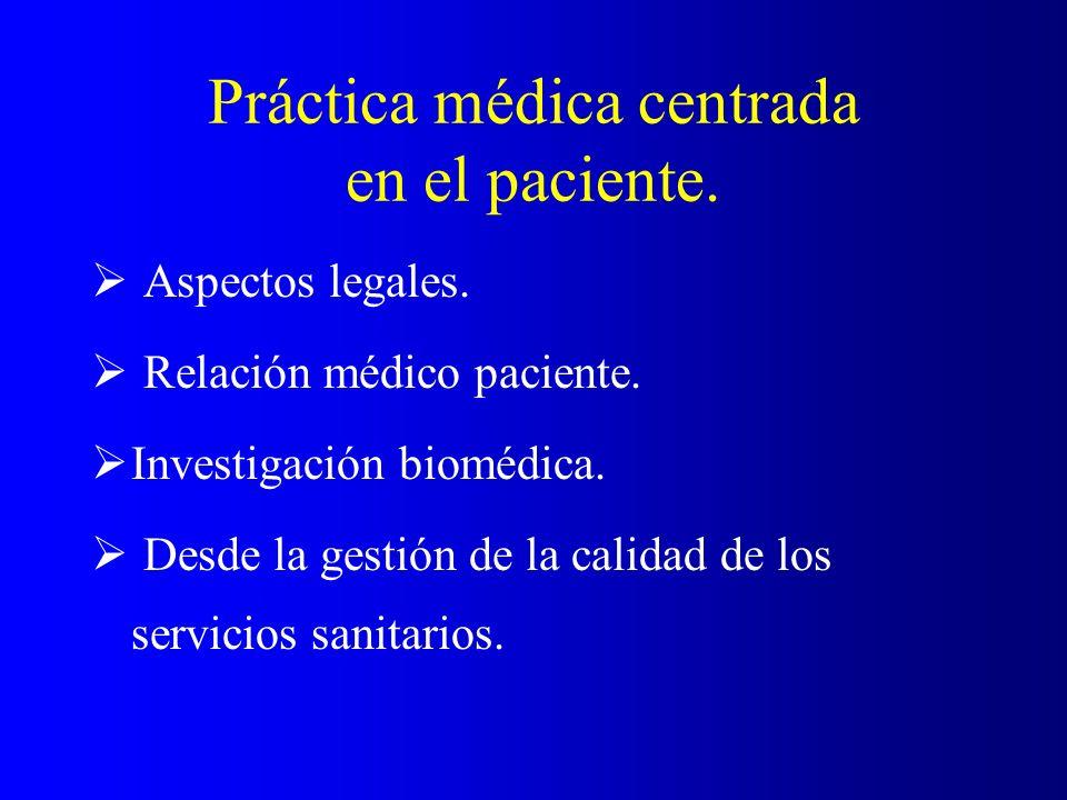 Práctica médica centrada en el paciente. Aspectos legales. Relación médico paciente. Investigación biomédica. Desde la gestión de la calidad de los se