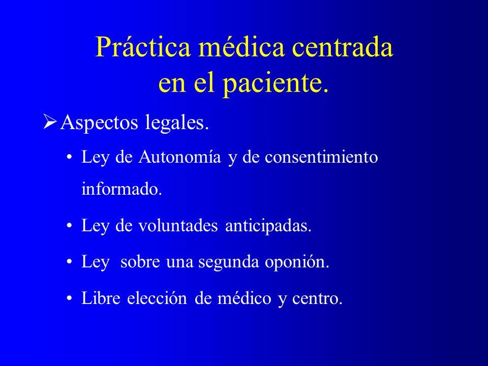 Práctica médica centrada en el paciente. Aspectos legales. Ley de Autonomía y de consentimiento informado. Ley de voluntades anticipadas. Ley sobre un