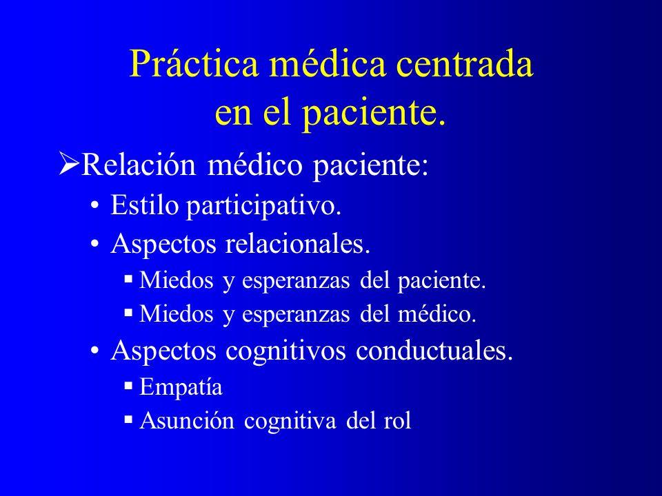 Práctica médica centrada en el paciente. Relación médico paciente: Estilo participativo. Aspectos relacionales. Miedos y esperanzas del paciente. Mied