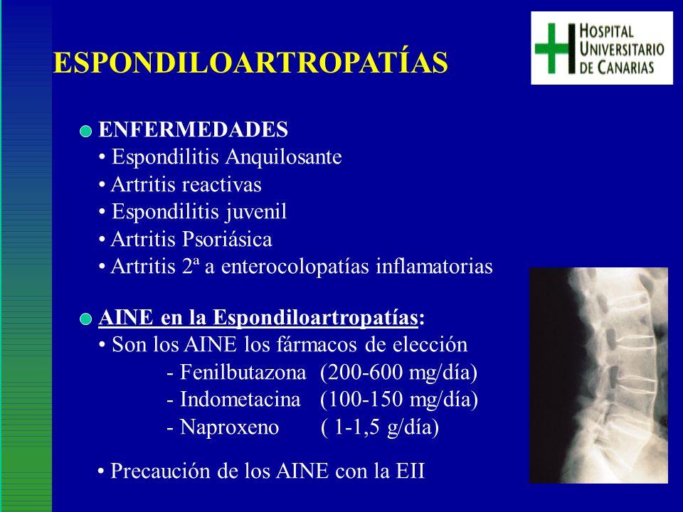 ESPONDILOARTROPATÍAS ENFERMEDADES Espondilitis Anquilosante Artritis reactivas Espondilitis juvenil Artritis Psoriásica Artritis 2ª a enterocolopatías