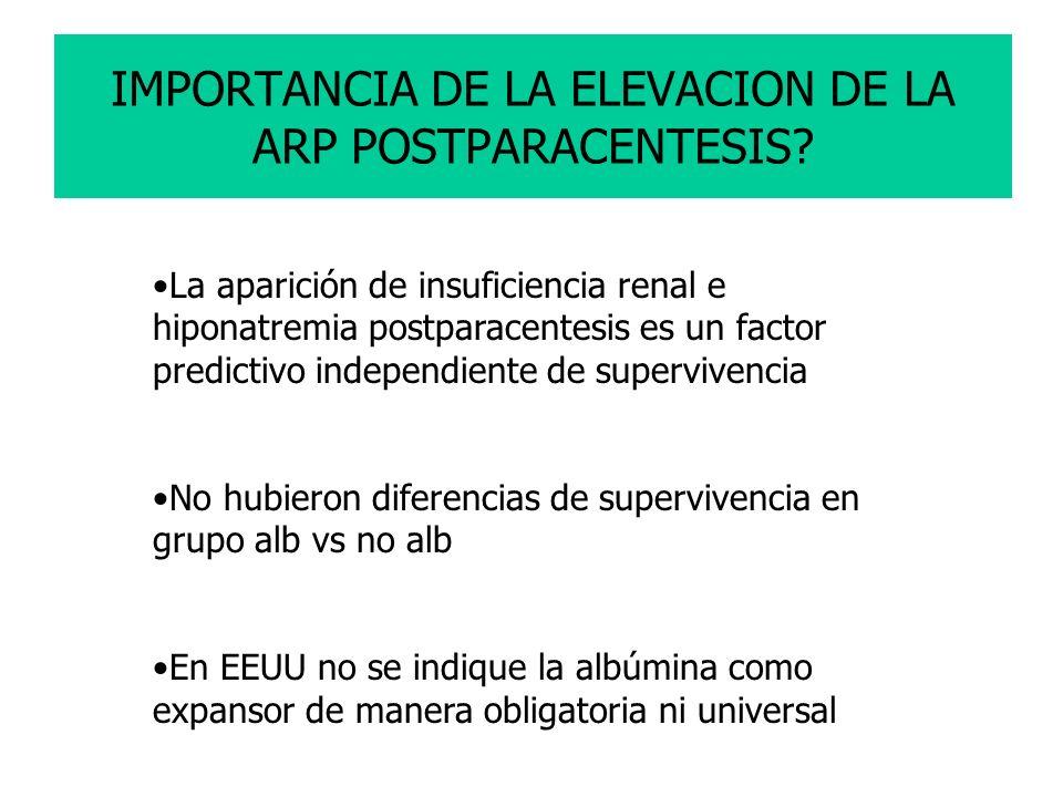 IMPORTANCIA DE LA ELEVACION DE LA ARP POSTPARACENTESIS? La aparición de insuficiencia renal e hiponatremia postparacentesis es un factor predictivo in