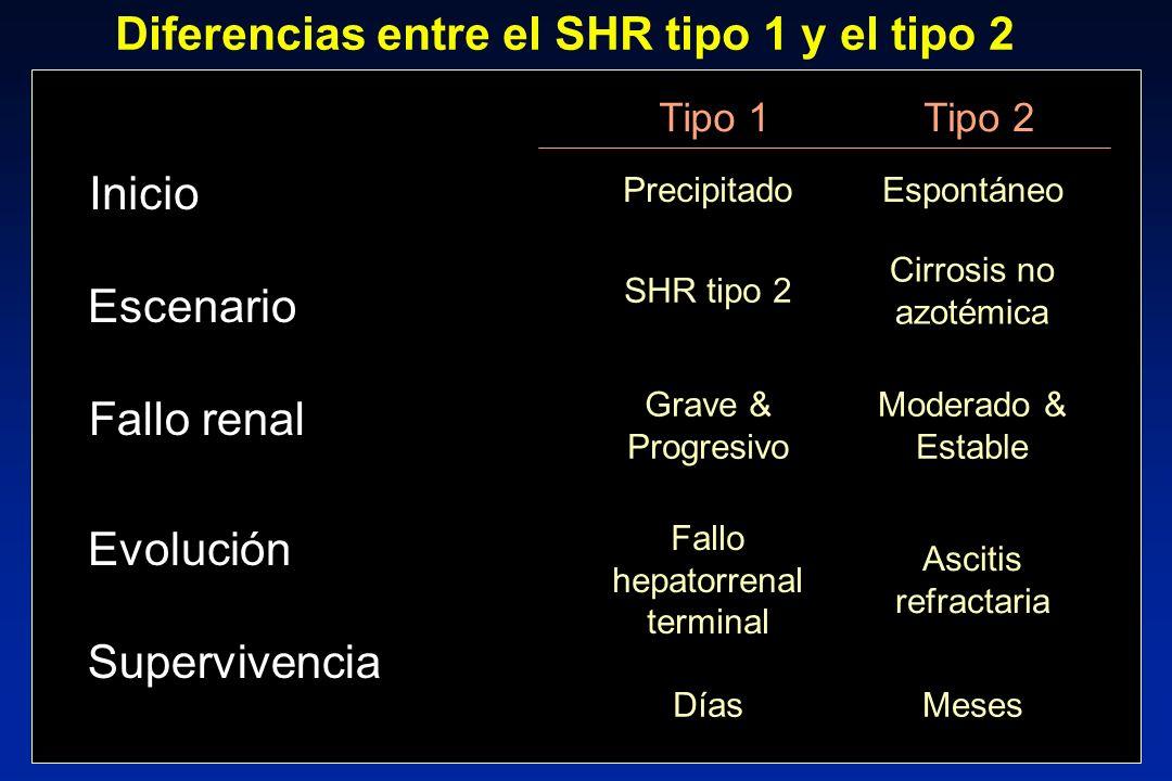 0,2,4,6,8 1 020406080100 1.6 8.9 At risk 263 150 99 56 38 26 0,2,4,6,8 1 0 20406080100 Probability At risk 263 150 99 56 38 26 1.6 5.4 SHR tipo 2 n = 13 SHR tipo 1 n = 9 Probabilidad de aparición de SHR Cirrosis con ascitis (grados 2 y 3) n = 263, seguimiento 41 ± 3 meses Probabiblidad SHR: 1 año: 3,2%; 5 años: 11,4 % Montoliu S, et al.