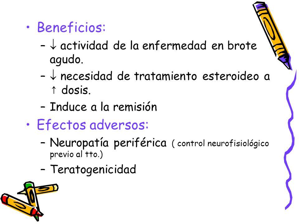 Beneficios: – actividad de la enfermedad en brote agudo. – necesidad de tratamiento esteroideo a dosis. –Induce a la remisión Efectos adversos: –Neuro