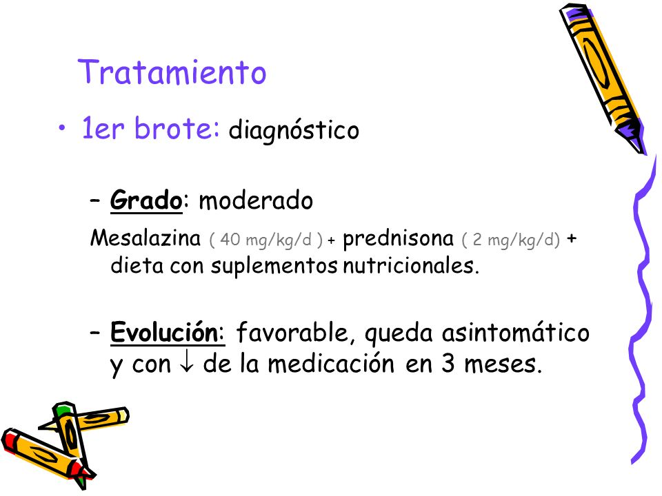 Tratamiento 1er brote: diagnóstico –Grado: moderado Mesalazina ( 40 mg/kg/d ) + prednisona ( 2 mg/kg/d) + dieta con suplementos nutricionales. –Evoluc