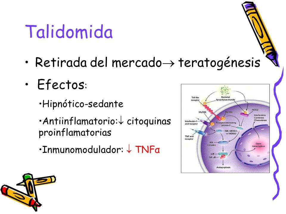 Talidomida Retirada del mercado teratogénesis Efectos : Hipnótico-sedante Antiinflamatorio: citoquinas proinflamatorias Inmunomodulador: TNFα