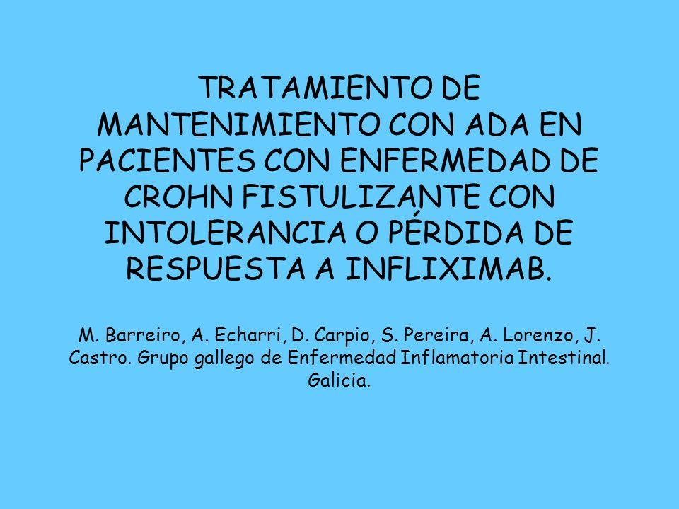 TRATAMIENTO DE MANTENIMIENTO CON ADA EN PACIENTES CON ENFERMEDAD DE CROHN FISTULIZANTE CON INTOLERANCIA O PÉRDIDA DE RESPUESTA A INFLIXIMAB. M. Barrei