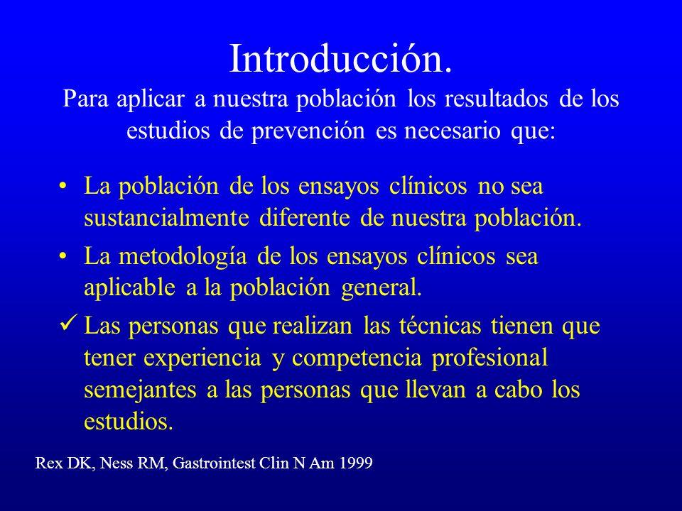 Introducción. Para aplicar a nuestra población los resultados de los estudios de prevención es necesario que: La población de los ensayos clínicos no