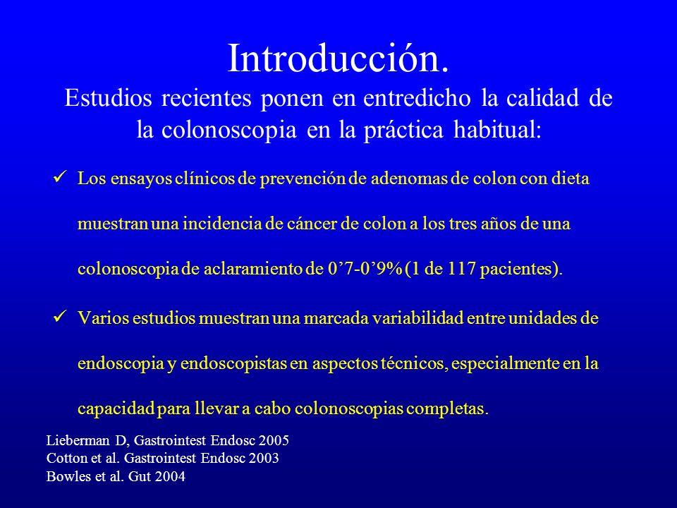 Introducción. Estudios recientes ponen en entredicho la calidad de la colonoscopia en la práctica habitual: Los ensayos clínicos de prevención de aden