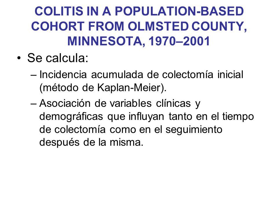 Se calcula: –Incidencia acumulada de colectomía inicial (método de Kaplan-Meier). –Asociación de variables clínicas y demográficas que influyan tanto