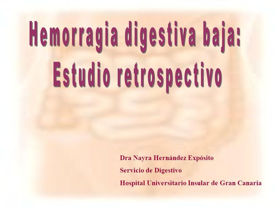 La hemorragia digestiva baja (HDB) se define como la pérdida de sangre a partir de una lesión situada por debajo del ligamento de Treitz.