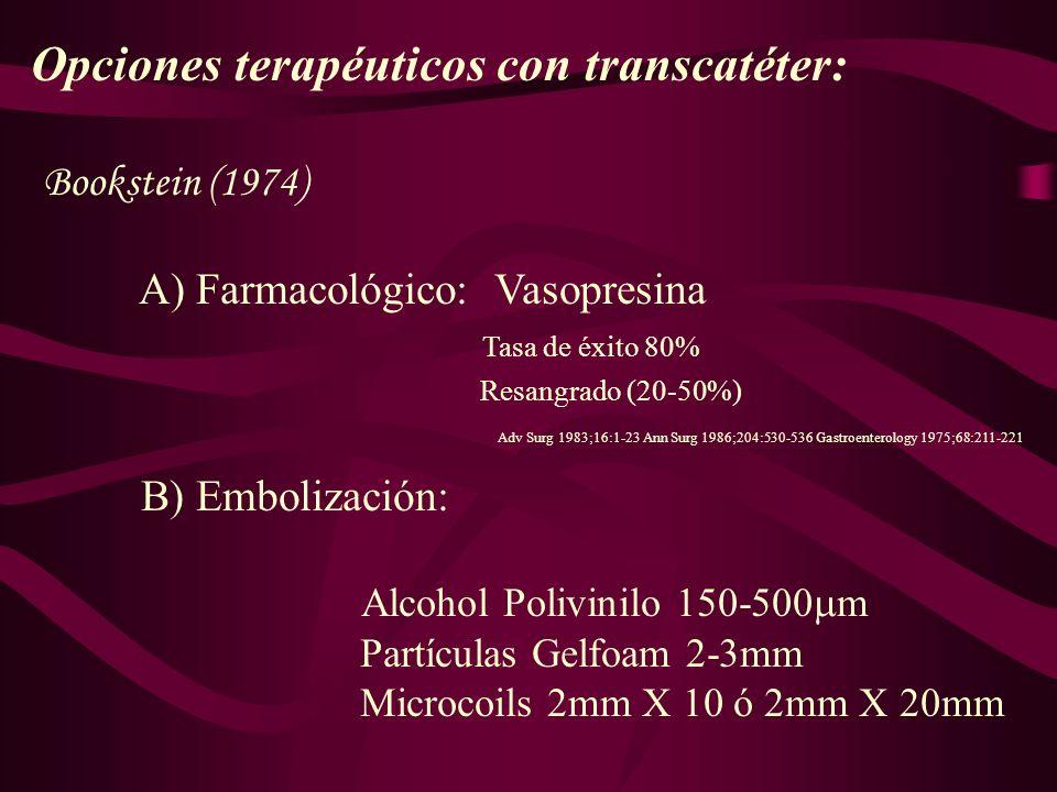 Opciones terapéuticos con transcatéter: Bookstein (1974) A) Farmacológico: Vasopresina Tasa de éxito 80% Resangrado (20-50%) Adv Surg 1983;16:1-23 Ann