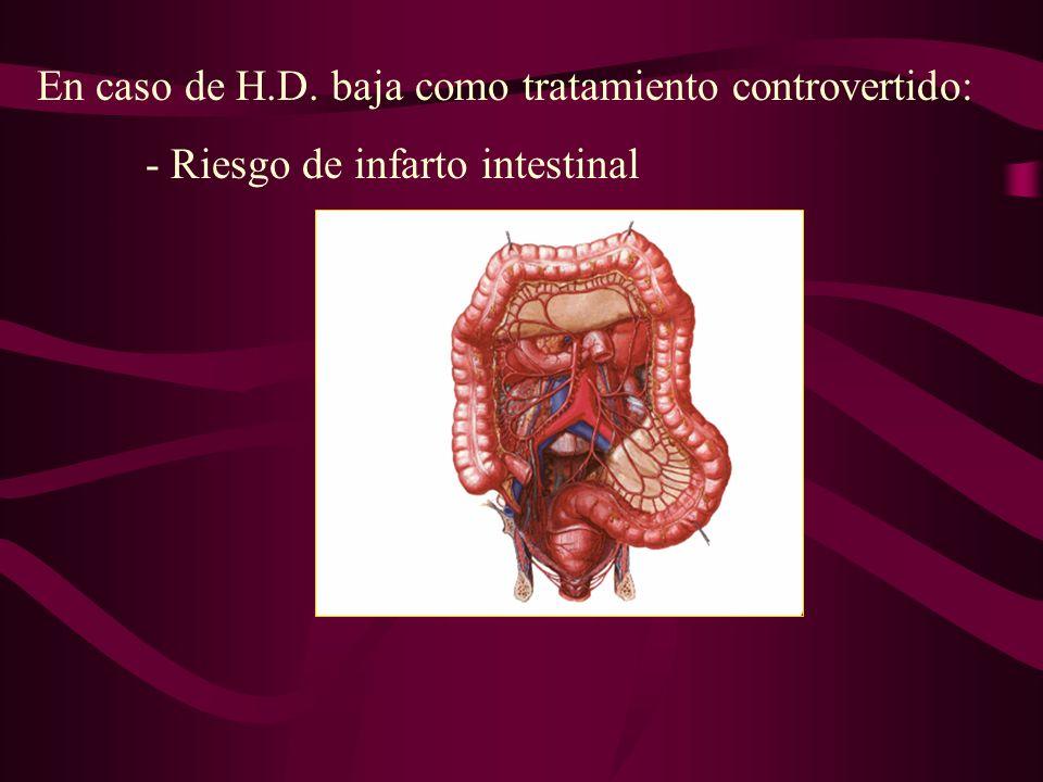 En caso de H.D. baja como tratamiento controvertido: - Riesgo de infarto intestinal