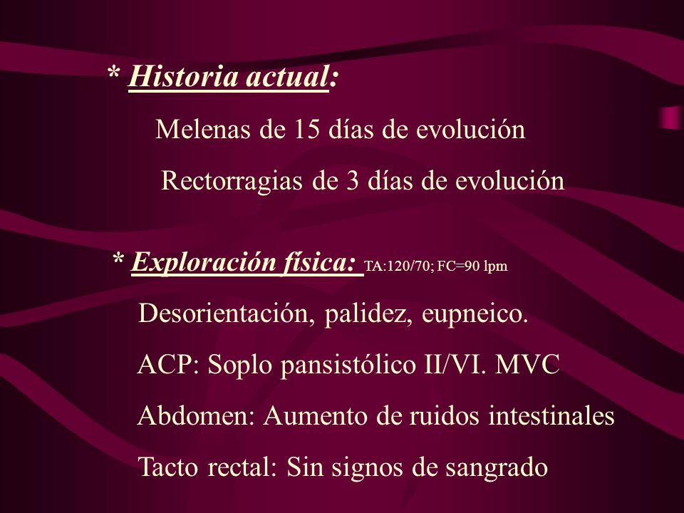 * Historia actual: Melenas de 15 días de evolución Rectorragias de 3 días de evolución * Exploración física: TA:120/70; FC=90 lpm Desorientación, pali