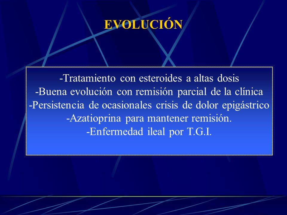 EVOLUCIÓN -Tratamiento con esteroides a altas dosis -Buena evolución con remisión parcial de la clínica -Persistencia de ocasionales crisis de dolor epigástrico -Azatioprina para mantener remisión.