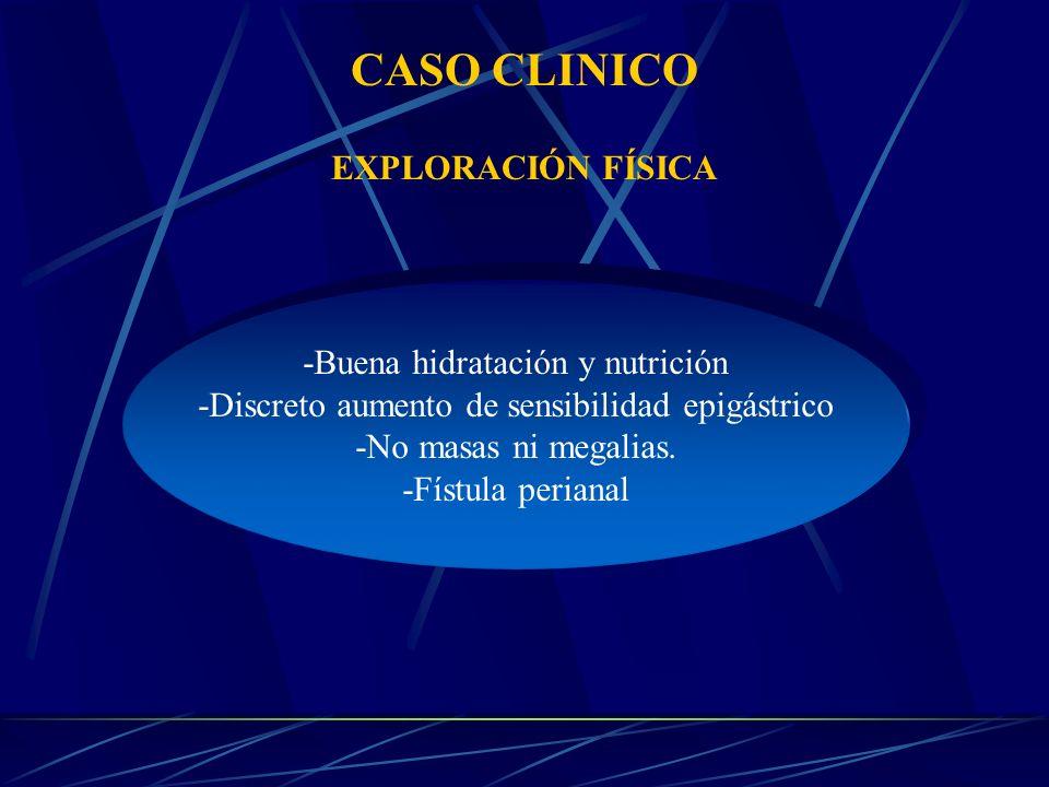 CASO CLINICO EXPLORACIÓN FÍSICA -Buena hidratación y nutrición -Discreto aumento de sensibilidad epigástrico -No masas ni megalias.
