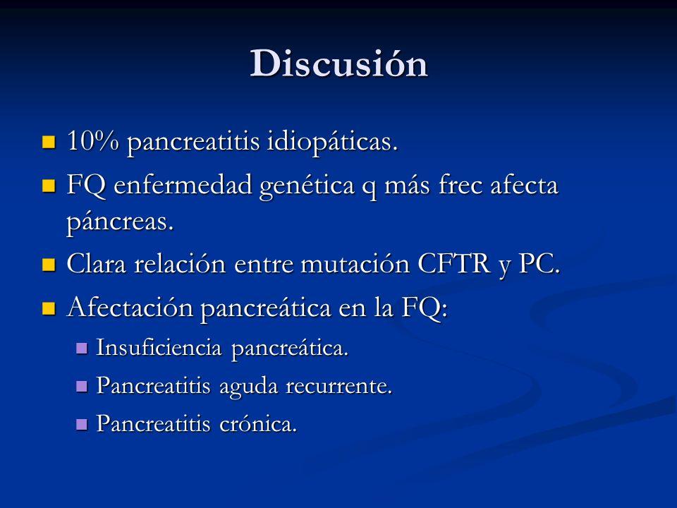 Discusión 10% pancreatitis idiopáticas. 10% pancreatitis idiopáticas. FQ enfermedad genética q más frec afecta páncreas. FQ enfermedad genética q más