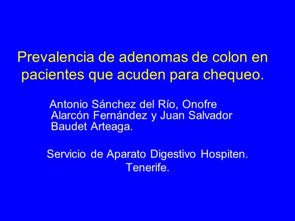 Prevalencia de adenomas de colon en pacientes que acuden para chequeo.
