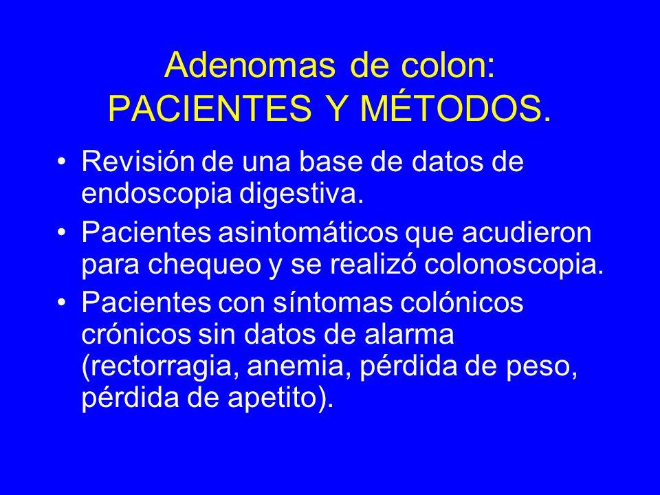 Adenomas de colon: PACIENTES Y MÉTODOS.Revisión de una base de datos de endoscopia digestiva.