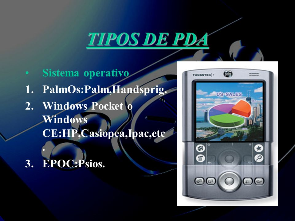 TIPOS DE PDA Sistema operativo 1.PalmOs:Palm,Handsprig. 2.Windows Pocket o Windows CE:HP,Casiopea,Ipac,etc. 3.EPOC:Psios.