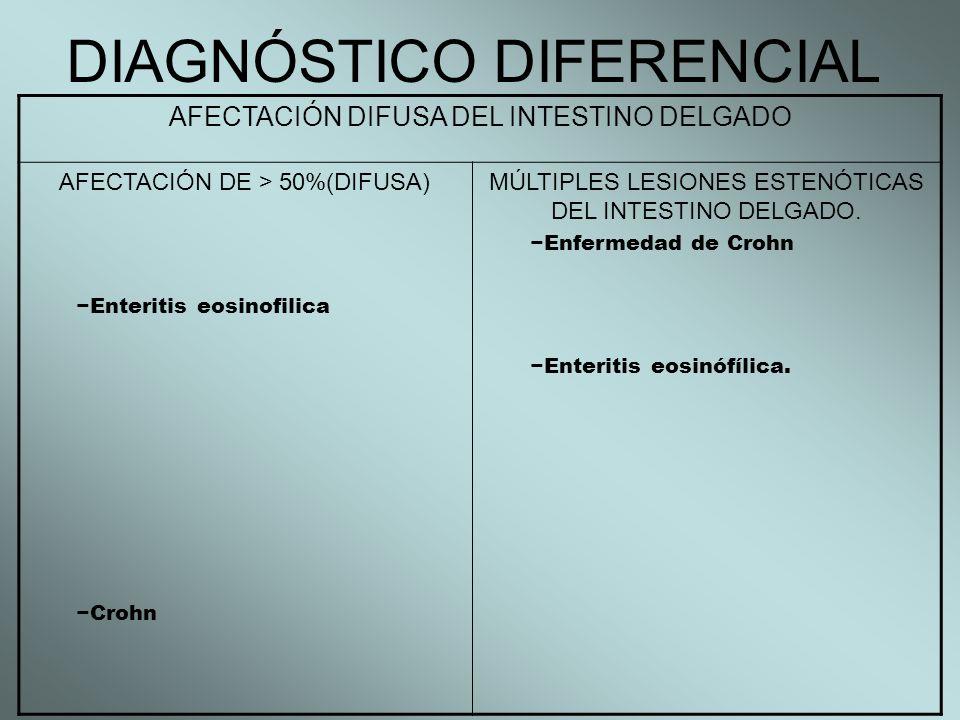 DIAGNÓSTICO DIFERENCIAL AFECTACIÓN DIFUSA DEL INTESTINO DELGADO AFECTACIÓN DE > 50%(DIFUSA) Enteritis eosinofilica Crohn MÚLTIPLES LESIONES ESTENÓTICA