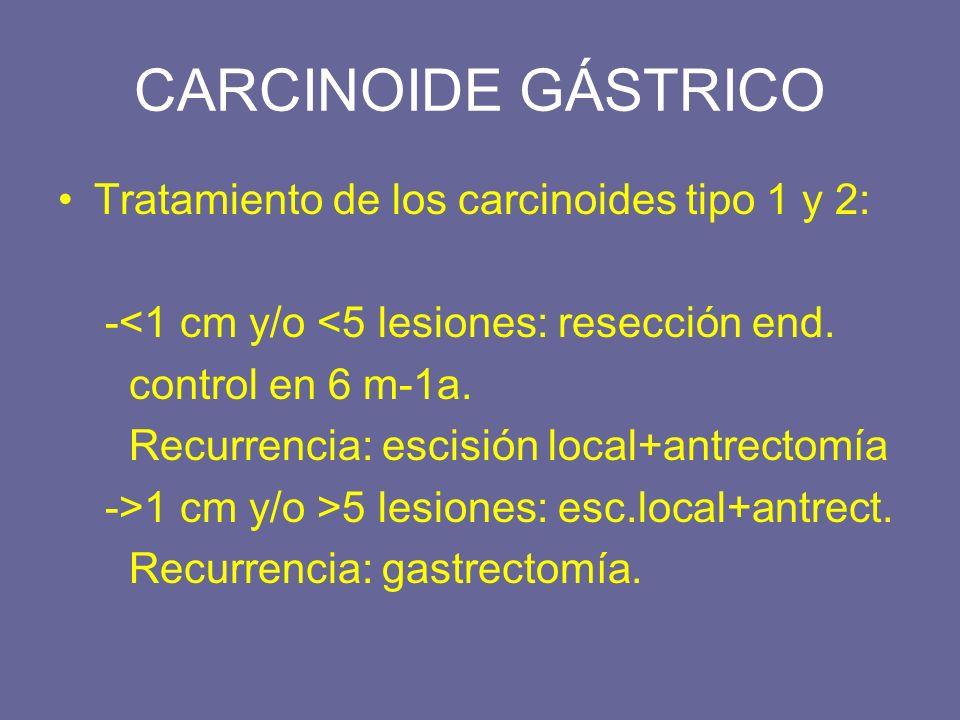 Tratamiento de los carcinoides tipo 1 y 2: -<1 cm y/o <5 lesiones: resección end. control en 6 m-1a. Recurrencia: escisión local+antrectomía ->1 cm y/