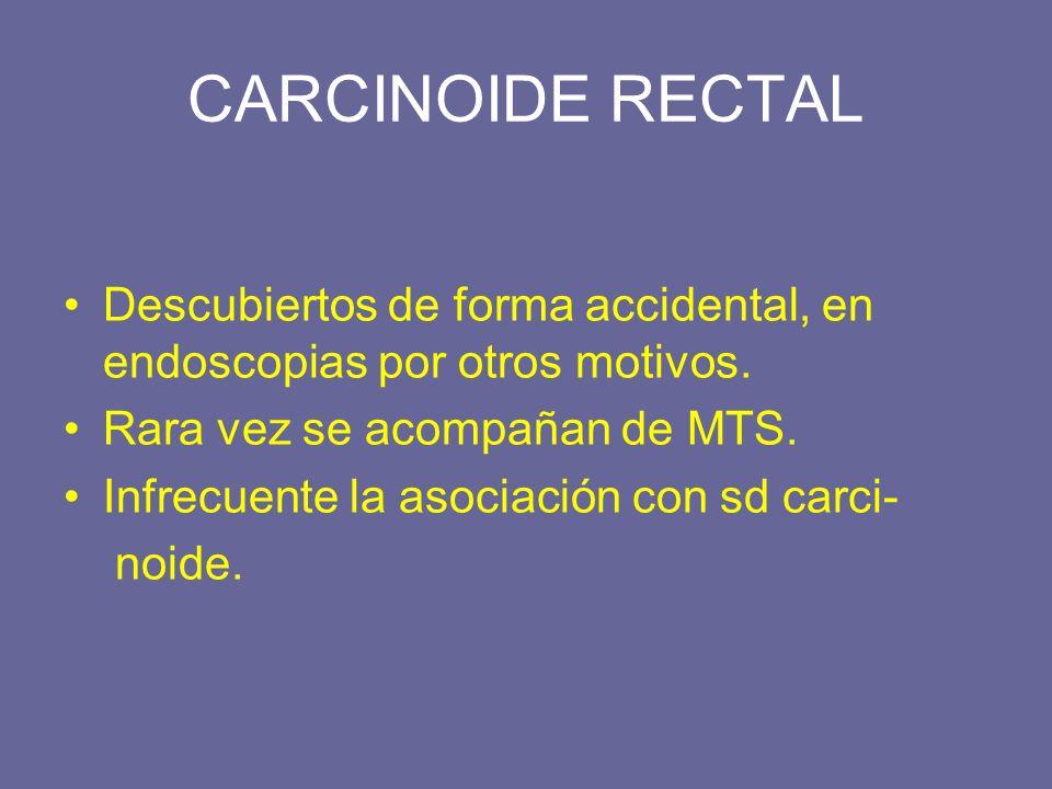 CARCINOIDE RECTAL Descubiertos de forma accidental, en endoscopias por otros motivos. Rara vez se acompañan de MTS. Infrecuente la asociación con sd c