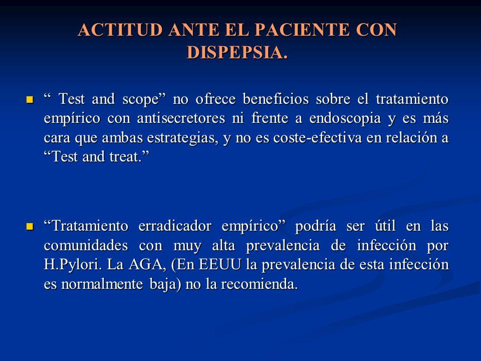 ACTITUD ANTE EL PACIENTE CON DISPEPSIA. Test and scope no ofrece beneficios sobre el tratamiento empírico con antisecretores ni frente a endoscopia y