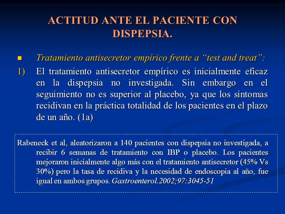 ACTITUD ANTE EL PACIENTE CON DISPEPSIA. Tratamiento antisecretor empírico frente a test and treat: Tratamiento antisecretor empírico frente a test and