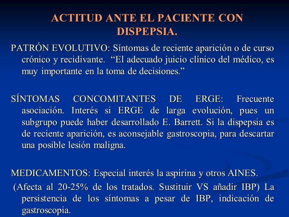 ACTITUD ANTE EL PACIENTE CON DISPEPSIA. PATRÓN EVOLUTIVO: Síntomas de reciente aparición o de curso crónico y recidivante. El adecuado juicio clínico