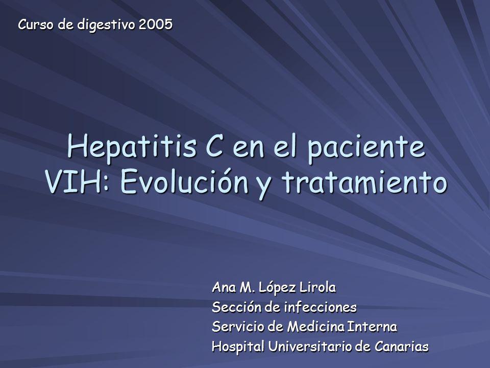 Ana M. López Lirola Sección de infecciones Servicio de Medicina Interna Hospital Universitario de Canarias Hepatitis C en el paciente VIH: Evolución y