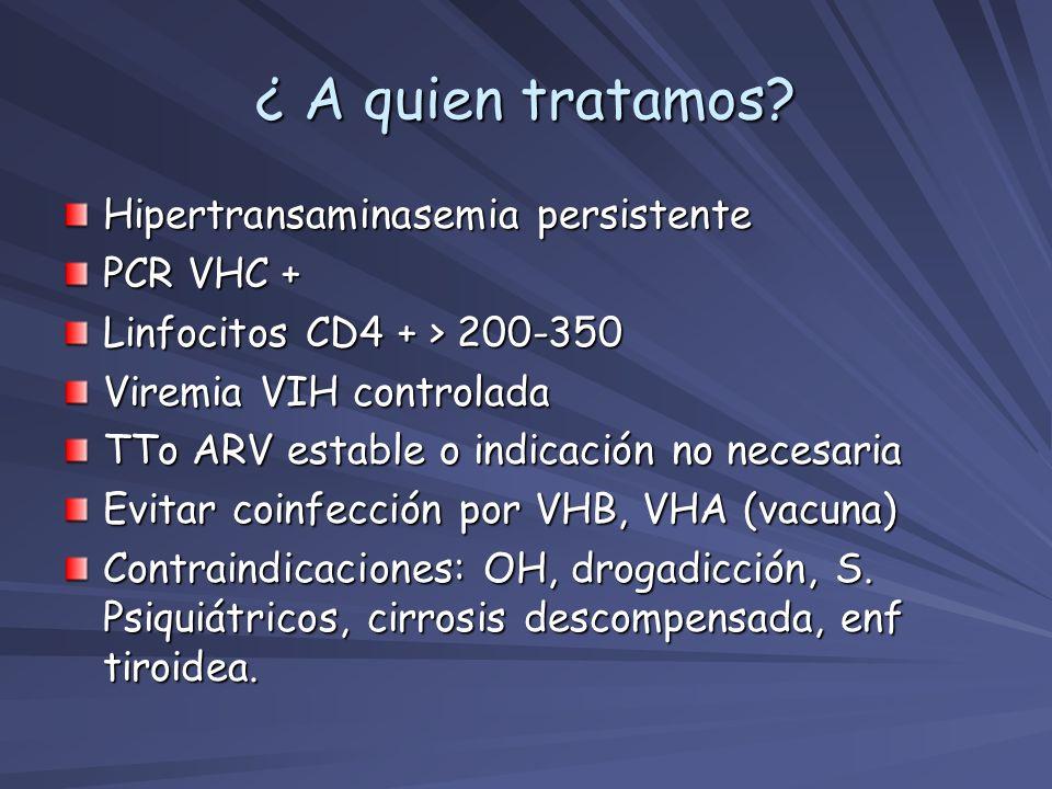 ¿ A quien tratamos? Hipertransaminasemia persistente PCR VHC + Linfocitos CD4 + > 200-350 Viremia VIH controlada TTo ARV estable o indicación no neces