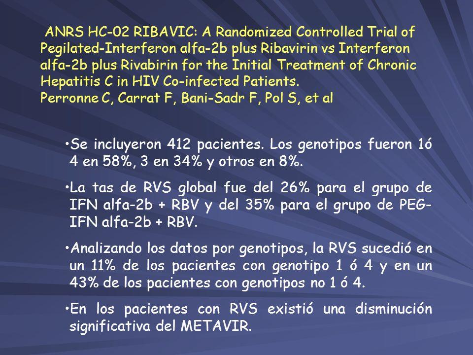 Se incluyeron 412 pacientes. Los genotipos fueron 1ó 4 en 58%, 3 en 34% y otros en 8%. La tas de RVS global fue del 26% para el grupo de IFN alfa-2b +