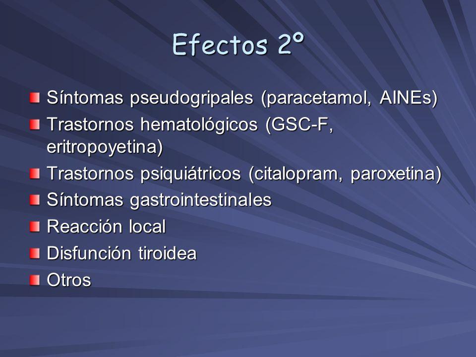 Efectos 2º Síntomas pseudogripales (paracetamol, AINEs) Trastornos hematológicos (GSC-F, eritropoyetina) Trastornos psiquiátricos (citalopram, paroxet