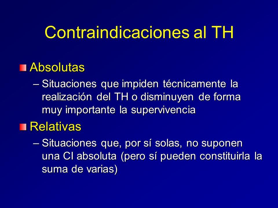 Contraindicaciones al TH Absolutas –Situaciones que impiden técnicamente la realización del TH o disminuyen de forma muy importante la supervivencia R