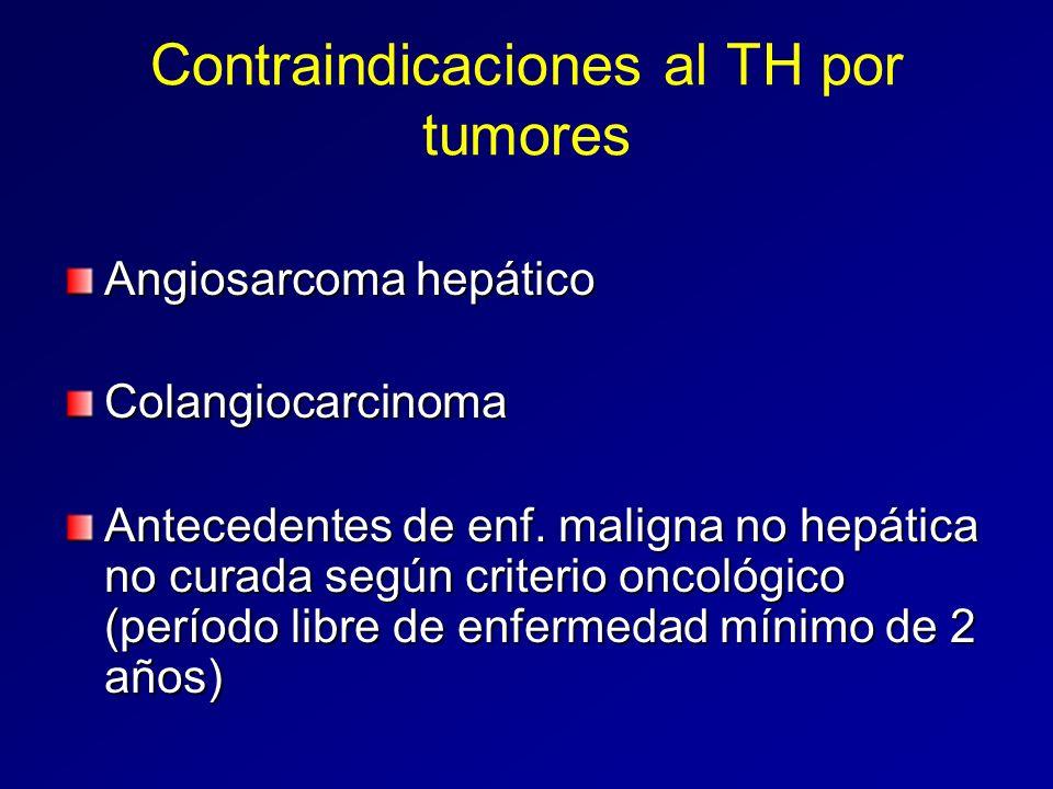 Contraindicaciones al TH por tumores Angiosarcoma hepático Colangiocarcinoma Antecedentes de enf. maligna no hepática no curada según criterio oncológ