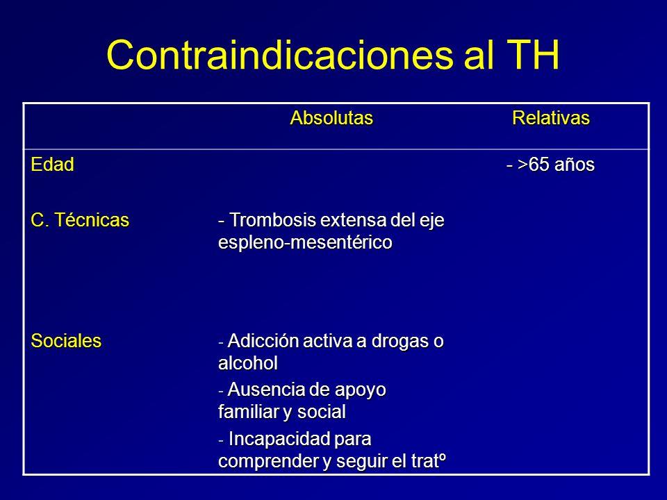 Contraindicaciones al TH AbsolutasRelativas Edad - >65 años C. Técnicas - Trombosis extensa del eje espleno-mesentérico Sociales - Adicción activa a d