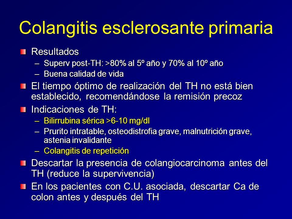 Colangitis esclerosante primaria Resultados –Superv post-TH: >80% al 5º año y 70% al 10º año –Buena calidad de vida El tiempo óptimo de realización de