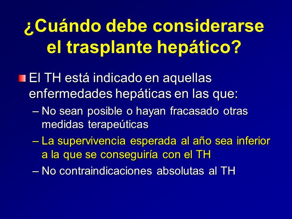 Cirrosis VHC 30-40% de los TH (CHC en ~20%) Reinfección universal post-TH: –Cirrosis en ~25% de los ptes a los 5 años –Formas colestásicas graves en 5-10% Hasta el momento no se ha demostrado una menor supervivencia del TH por VHC No se dispone de pautas de profilaxis ni de tratamiento eficaces de la hepatitis C post-TH Tratamiento antiviral postrasplante: complejo pero viable y con posibilidades reales de éxito