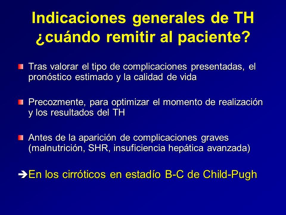Cirrosis VHC La cirrosis VHC sigue siendo una indicación aceptable de TH en nuestro medio, al menos a corto-medio plazo Ni el genotipo ni la carga viral pre-TH deben influir la decisión de incluir al paciente en lista de espera Es importante descartar la presencia de CHC en los candidatos a TH