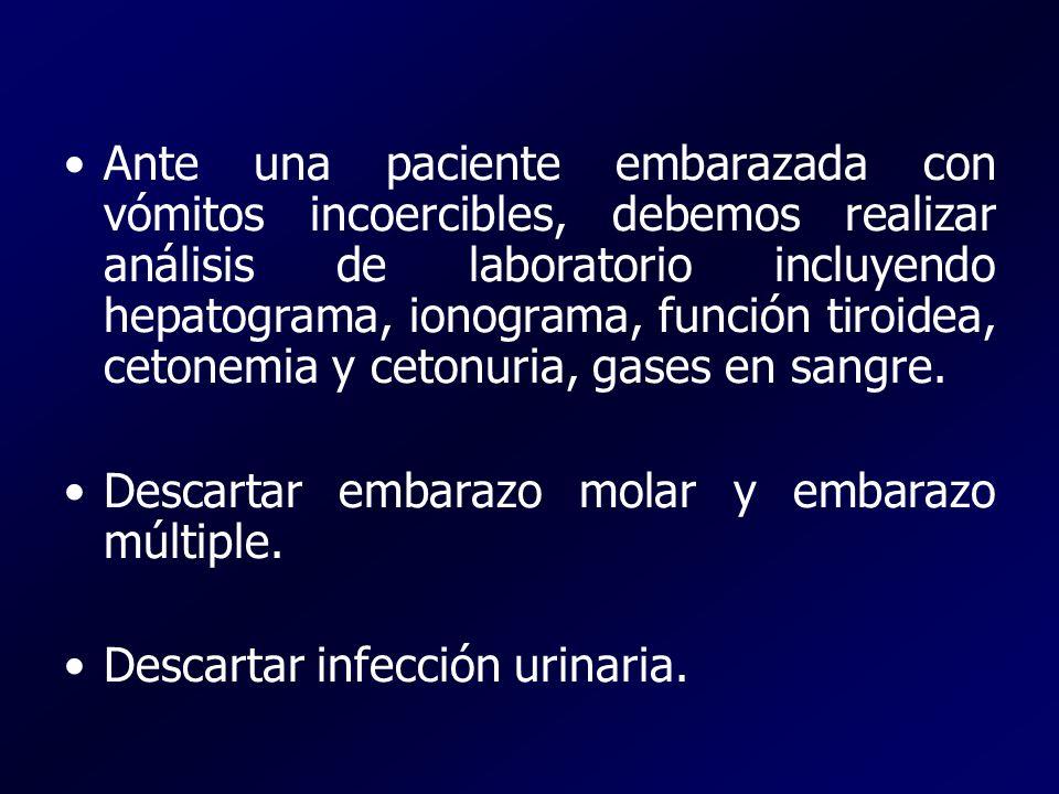 Ante una paciente embarazada con vómitos incoercibles, debemos realizar análisis de laboratorio incluyendo hepatograma, ionograma, función tiroidea, c