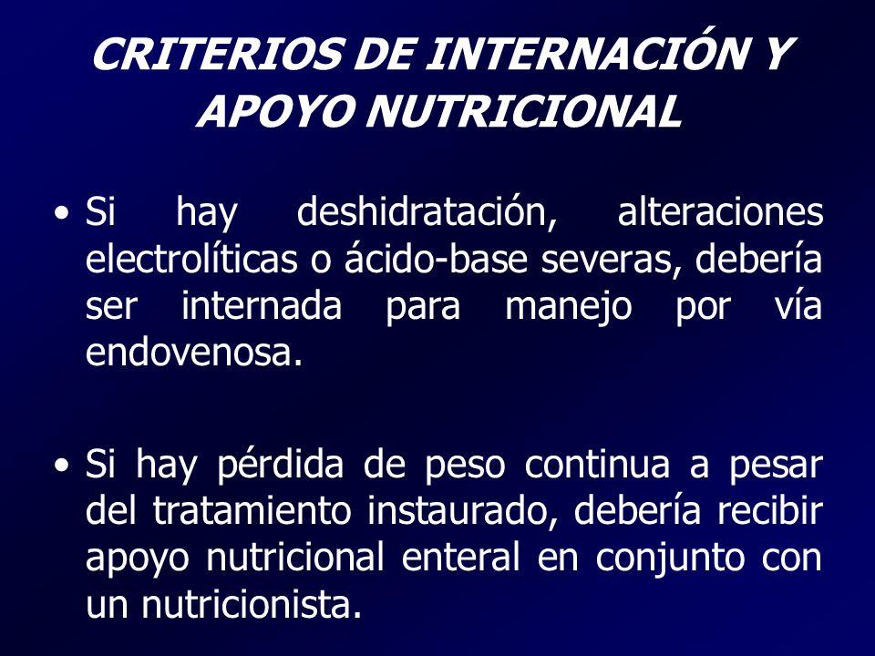 CRITERIOS DE INTERNACIÓN Y APOYO NUTRICIONAL Si hay deshidratación, alteraciones electrolíticas o ácido-base severas, debería ser internada para manej