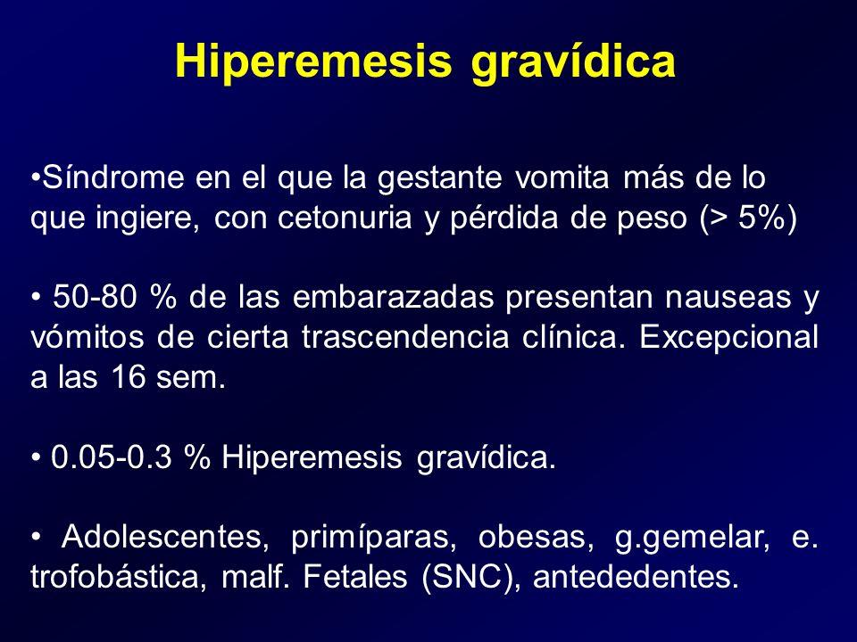 Hiperemesis gravídica Síndrome en el que la gestante vomita más de lo que ingiere, con cetonuria y pérdida de peso (> 5%) 50-80 % de las embarazadas p
